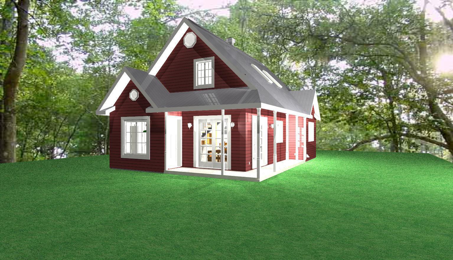 maison revêtement rouge