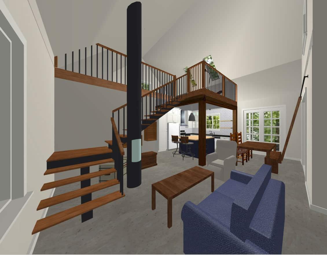 modélisation 3D du design d'un rez-de-chaussée avec mezzanine et plancher de beton